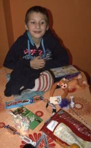 Sebastian z prezentami